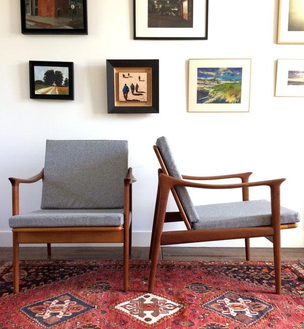 fauteuils scandinaves, vatne lenestolfabrikk, fauteuils norvégiens, fauteuils teck, fauteuils vintage