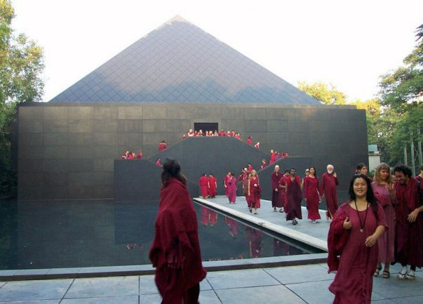 In the meditation resort, Pune, after one meditation. The pyramid has been designed by Osho, when still on the planet.