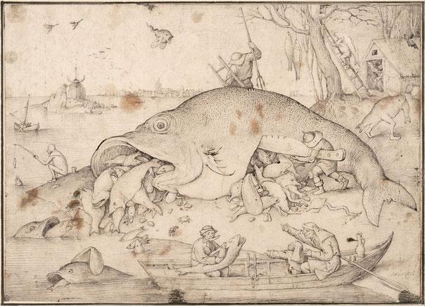 《大きな魚は小さな魚を食べる》版画のための習作,1556年