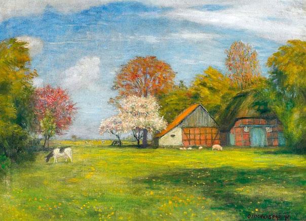 Otto Modersohn - Fischerhude Gehöft im Frühling