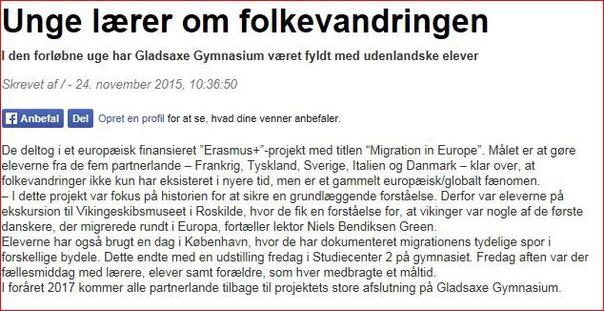 Gladsaxe Bladet/Denmark; 25th November 2015