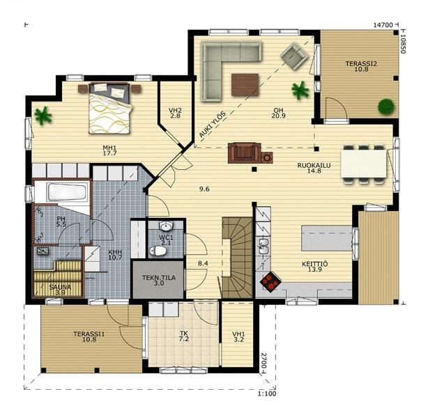 Individuelle Raumaufteilung und Funktionen der Räume