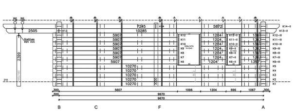 Die Planung der Wand K vom Wohnblockhaus mit diversen wichtigen Informationen für die Produktion und Montage  - Niedersachsen - Blockhausbau - Holzbau - Bauen - Blockhaus - Werkplanung