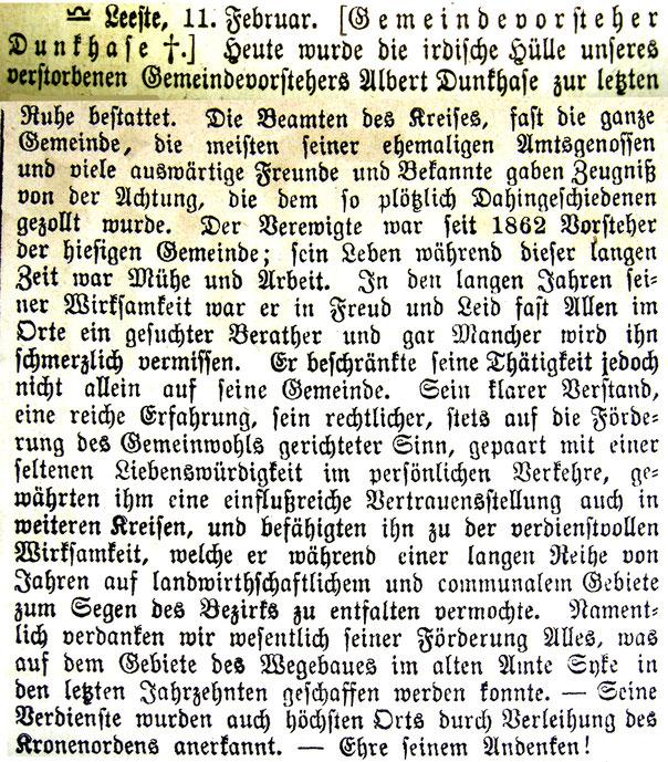 Syker Zeitung v. 13.2.1890