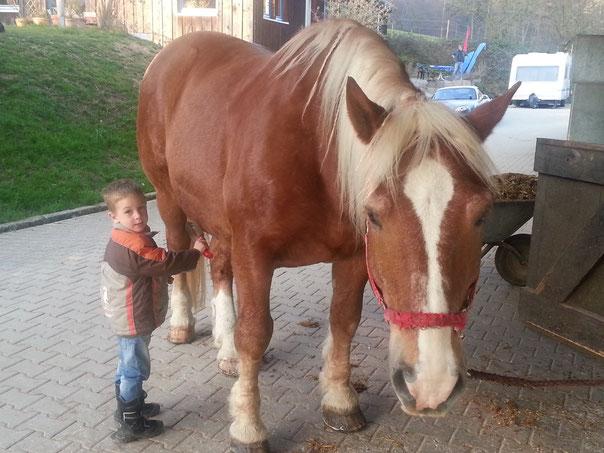 s`Kleinste mit dem Größten Familienmitglied