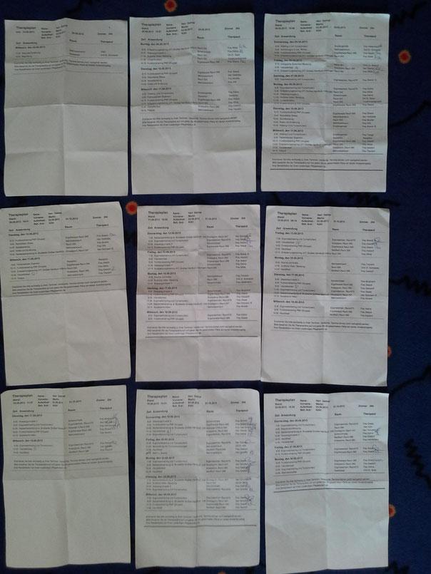Die Sammlung meiner Therapiepläne - mussten am letzten Tag abgegeben werden