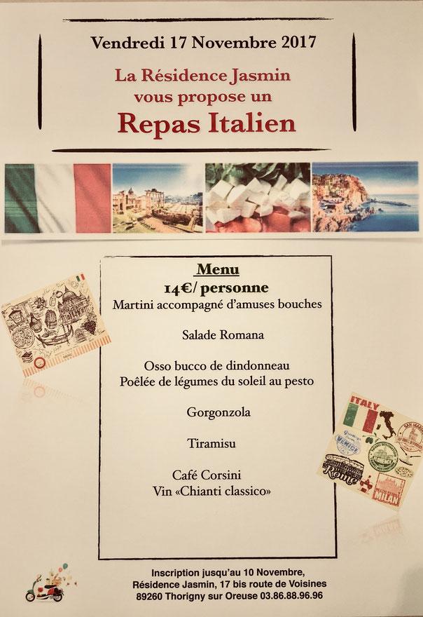 Repas italien à la Résidence Jasmin le 17 novembre 2017