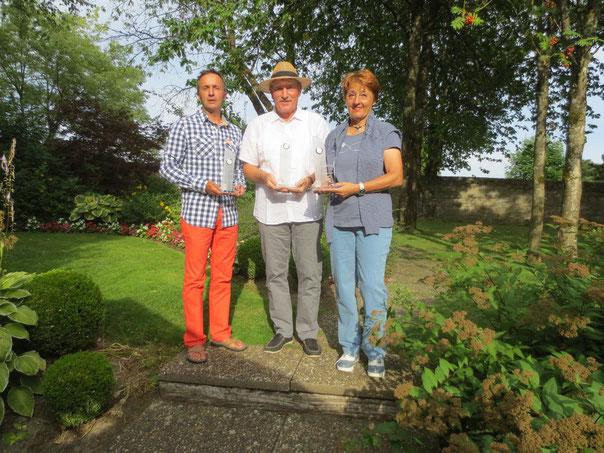 Die Laureaten der Meisterschaft 2015: Patrick Staudt 3.Platz, Armand Agostini, 1. Platz, und Ginette Manes, Vize-Meisterin.