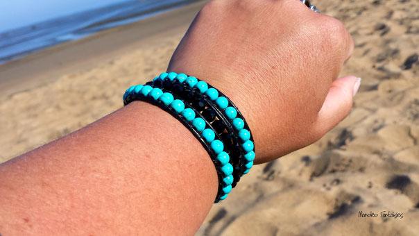 Bracelet wrap LAGUNE 3 tours, ses perles semi précieuses sur cuir dans les tons turquoise et noir