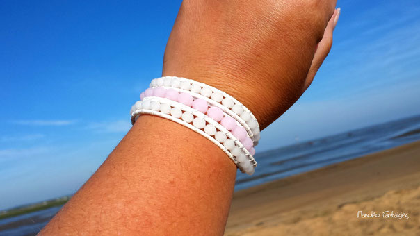 Bracelet LAOUGA wrap 3 tours ses perles semi précieuses , rose poudré et blanc