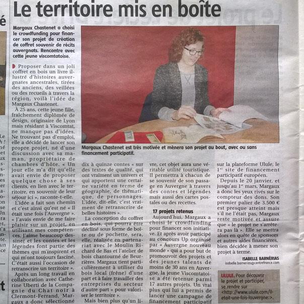 article de La Gazette Thiers-Ambert sur la campagne de financement participatif de Margaux Chastenet