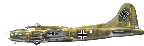 Questo esemplare venne catturato dai tedeschi rimesso in condizioni di volare, la mimetica standard USA rimase, nel'Aprile del 1945 fece una prima sortita con la livrea del Reich.