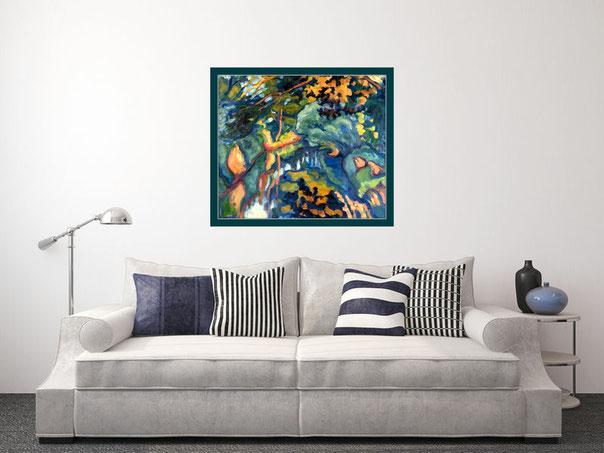 Ein Gemälde von Wolf-Dietmar Stock im Wohnzimmer