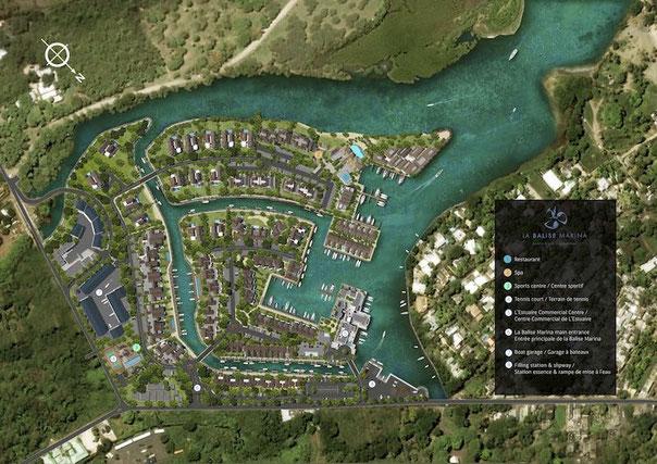 plan de masse LA BALISE MARINA appartements pied dans l'eau  avec piscine ILE MAURICE