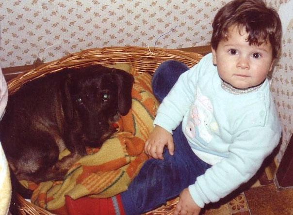 """Mein """"Xandi"""" Lysander vom Auerbach  (am Foto: 6 Jahre alt) & ich (am Foto: 1 Jahr alt)"""