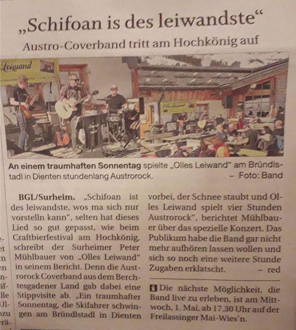 Olles Leiwand spielt Austropop im Bründlstadel in Dienten