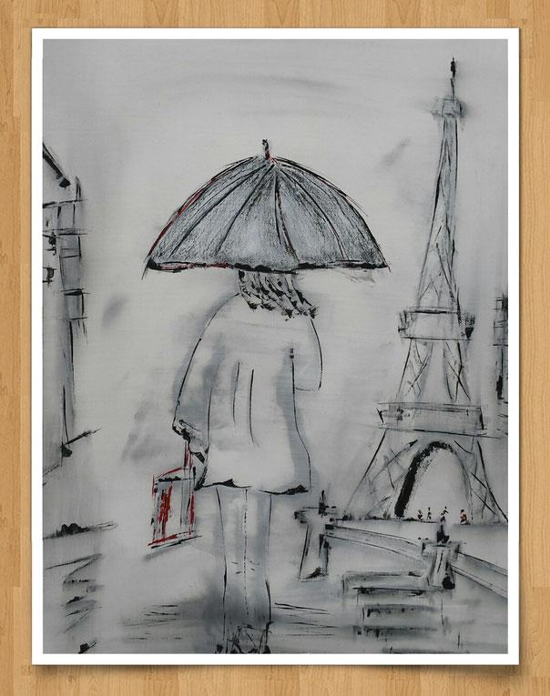 Paris im Regen  40 x 50cm - Kohle/Acryl auf Leinwand - verkauft -