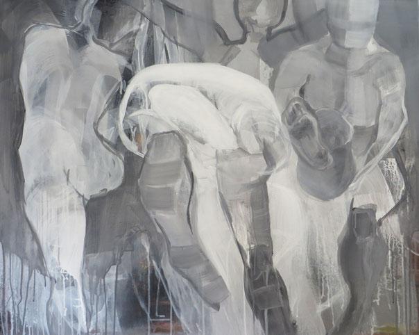 Figuren in Bewegung 15, Acryl auf Leinwand 80x100 cm, 2016