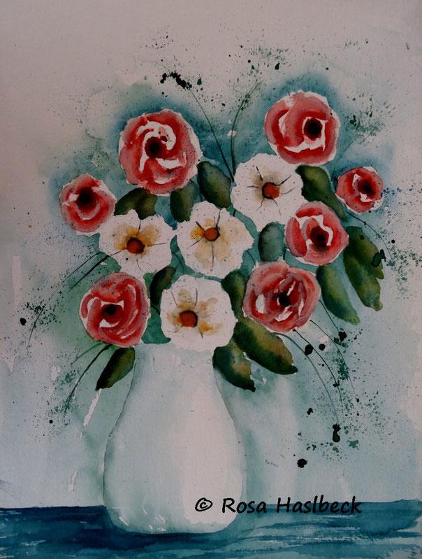 aquarell blumenaquarell, blumen, vase, bild, kunst kaufen, malen dekoration, rot, grün, blau