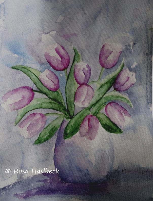 aquarell , kunstkaufen, malen, bild kaufen, malerei, blumenmalerei, blumen, bilder, blumenstrauß, tulpen, kunst kaufen, bild kaufen malen, kunst violet, lila, vase, aquarellbilder kaufen.