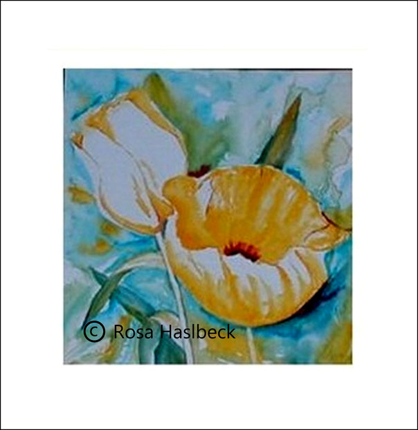 Aquarell, tulpenaquarell, tulpen, tulpenbild, kunst kaufen, bild, gelb, grün, blau