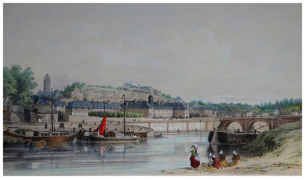 Hôtel-Dieu et château de Pontoise- Vue générale prise des Bords de l'Oise-Souvenir du 26 mai 1857 par Adolphe d'Hastrel. (Lithographie)