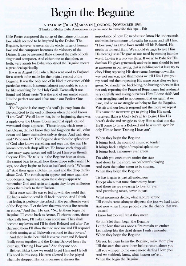 Courtesy of ; Meher Baba Australia newsletter -  Feb.2004, p14