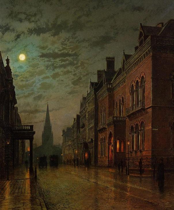"John Atkinson Grimshaw, ""Park Row, Leeds"" (1882)"