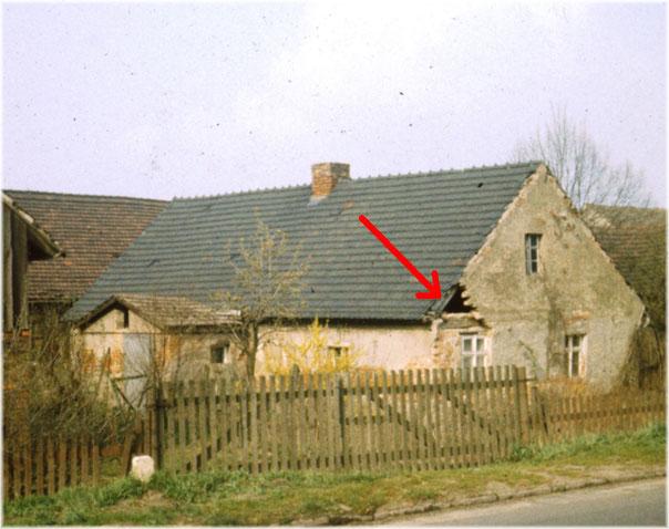 Gehöft Schobba, Lübbener Str., Frühjahr 1988. (ORWO-Color)