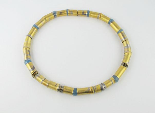 Palladium und Feingold , Röhrenkette mit Kugelgelenken aus Aquamarin, Silber und 900/°°° Gold , Unikatschmuck,