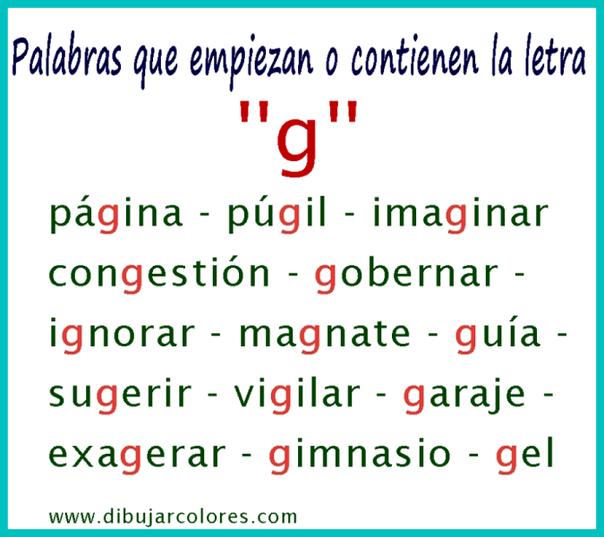 palabras con la letra g