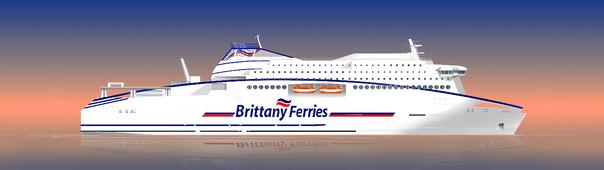 Une vue d'artist du nouveau navire propulsé au GNL qui devrait être livré à Brittany Ferries en 2019 pour remplacer Normandie.