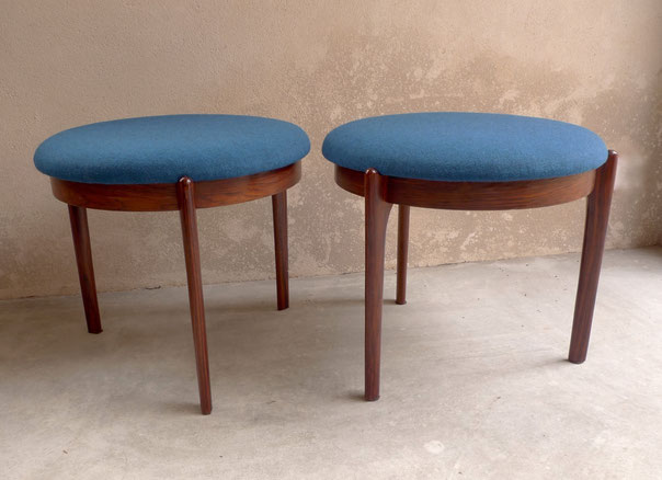 Joli, tabourets danois, tabourets bleus, danish stools, palissandre