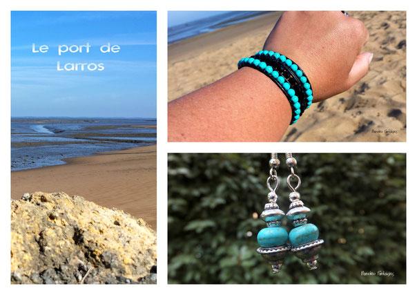 Des créations tendance turquoise made in Bassin d'Arcachon bracelet LAGUNE Boucles d'oreilles ESMA
