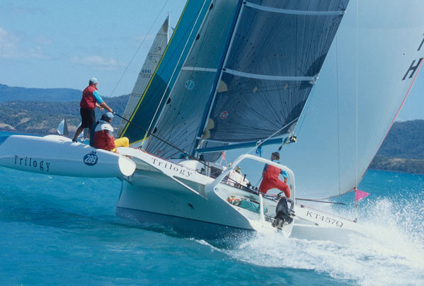 Trimaran Trilogy racing in the Whitsundays. Photo by Bob Ross