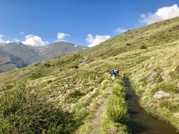Spaziergang in der Sierra Nevada entlang einer Schmelzwasserrinne zur Bewässerung in tieferen Lagen
