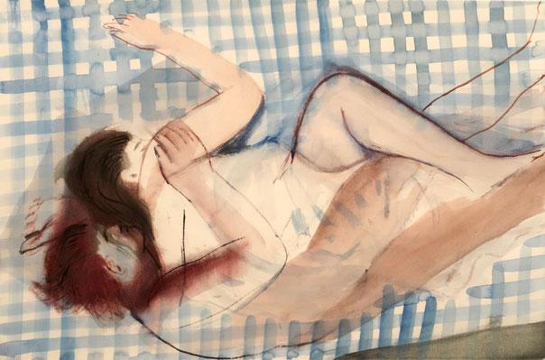 Schlafende, 2019, Aquarell, 38x57cm