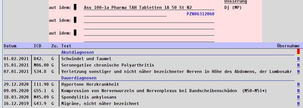 Rezept bekannte Diagnose Praxissoftware Arztsoftware Software für Ärzte Praxisalltag Rezept ausstellen abasoft