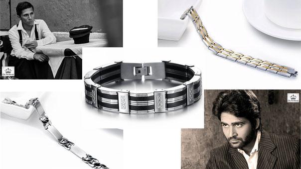 bracelet homme Cuir et Gourmette Acier Inox clic tendance