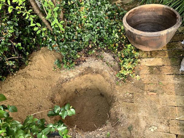 これだけのカメを入れるだけで土嚢に5袋半土が出る。