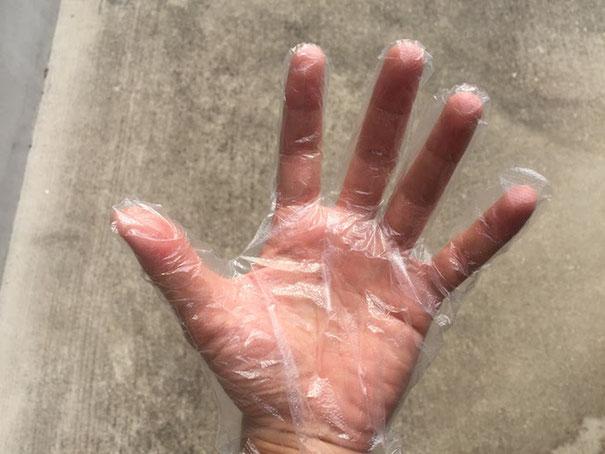 まずはビニールの手袋を装着する!!!