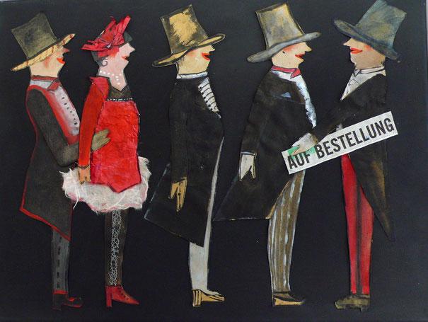 Antje Eule - Auf Bestellung (2015), Collage, Papier auf Leinwand, 40 x 40