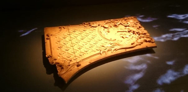 A piece of the paneling from the first-class lounge of the Titanic