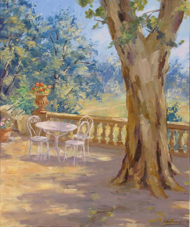 Tony Wahlander (Wåhlander) une terrasse en Provence avec son beau platane