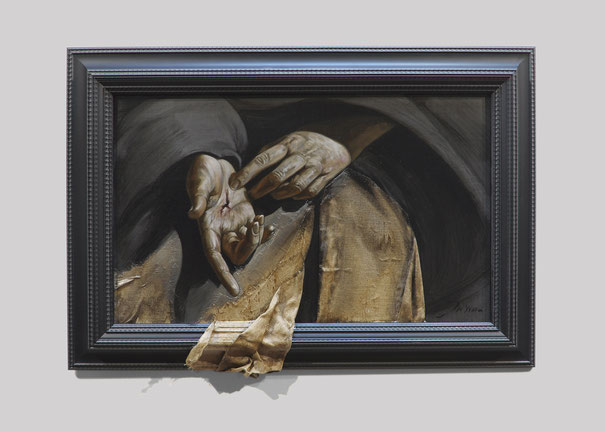 F. MARTIN© Stigmates - Huile sur bois marouflé 75X54