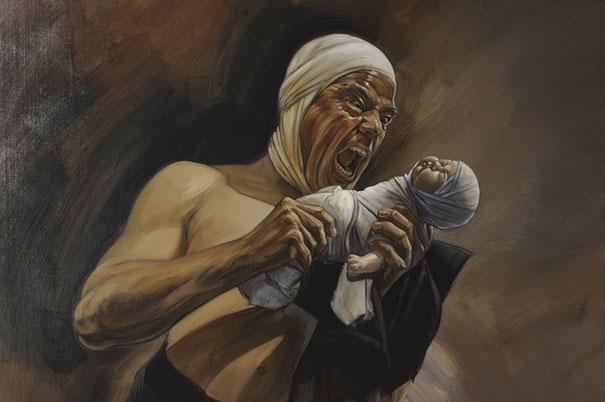 Cronos dévorant ses enfants, peinture, huile, contemporain, art,