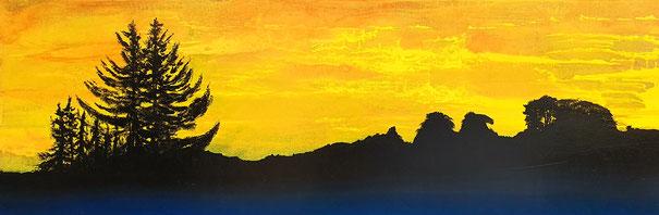 Acryl auf Holz / Sonnenuntergang in Reinach BL / Februar 2020 / 150x50