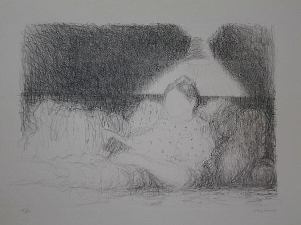 Truphémus, La liseuse, lithographie, 27 x 37,5 cm.