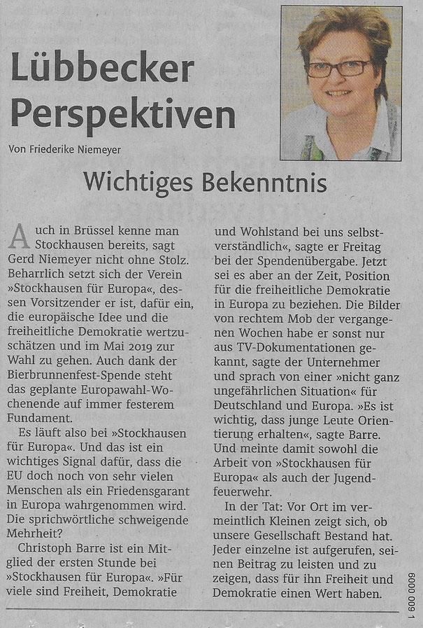 Kommentar der Chefredakteurin Friederike Niemeyer (Lokalredaktion Lübbecker Kreiszeitung (Westfalen-Blatt)) zu unserer Vereinsarbeit (Lokalteil Lübbecke, 06.10.2018)
