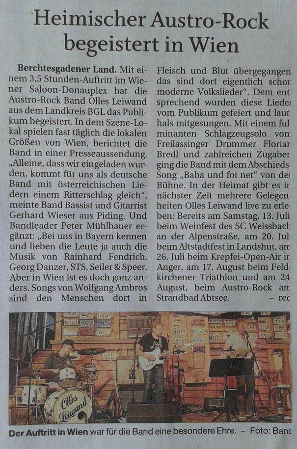 Olles Leiwand spielt Austropop in Wien und Bad Sauerbrunn